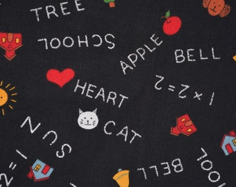 Black Chalkboard fabric back to school kindergarten Susan Winget Fabric Traditions