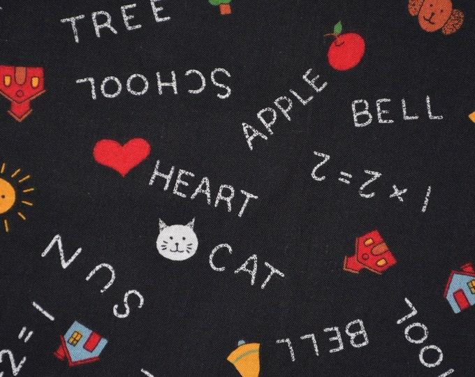 Black Chalkboard fabric back to school kindergarten Susan Winget Fabric Traditions