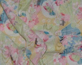 Asian fabric prints Japanese fan fabric butterflies cherry blossoms