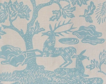 Quadrille linen upholstery, powder blue Magic Garden
