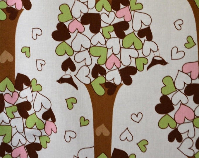 Cheerful Fabric with hearts, large trees, Heart leaves, Robert Kaufman fabric