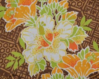 Hawaii Tropical tiki fabric, vintage midcentury Polynesian fabric