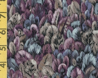 Bird feathers fabric blue gray packed feather print Robert Kaufman fabric purple