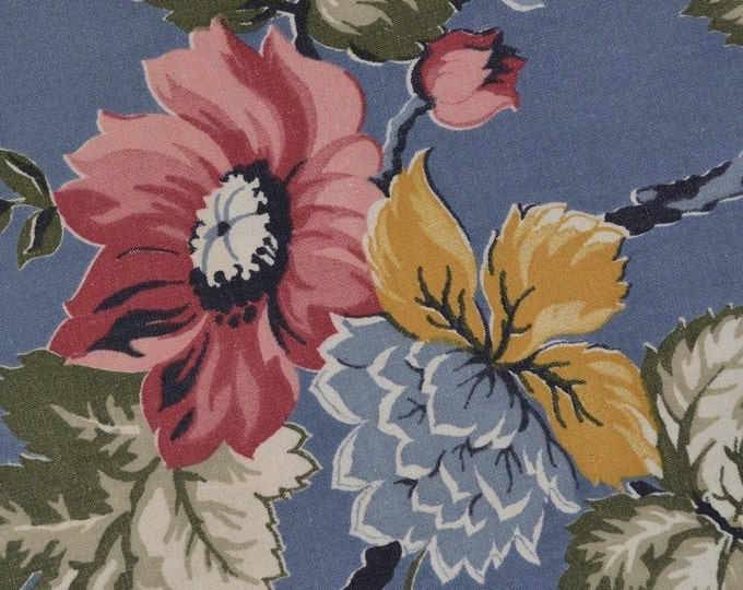 40s floral fabric vintage drape fabric slate blue cottage chic