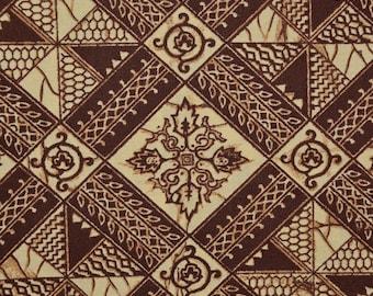 Vintage fabric, ethnic tribal fabric printed Indonesian batik pattern