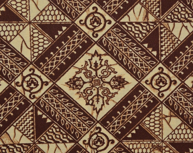 Vintage fabric, ethnic tribal fabric printed Indonesian batik pattern