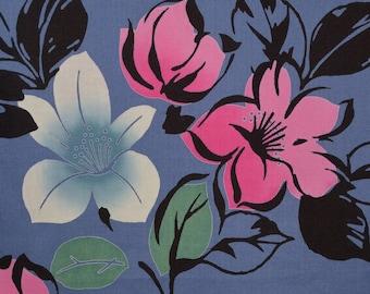 Cherry Blossom fabric, vintage Yukata fabric yard, Japanese Kimono fabric