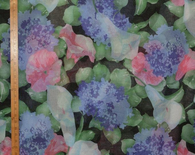 Large floral print fabric, semi sheer fabric, Hydrangea Calla Lily