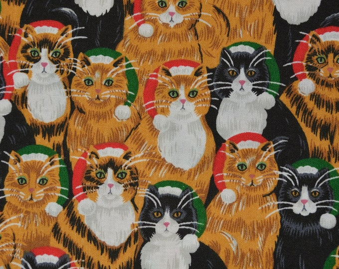 Vintage fabric, Christmas cats fabric
