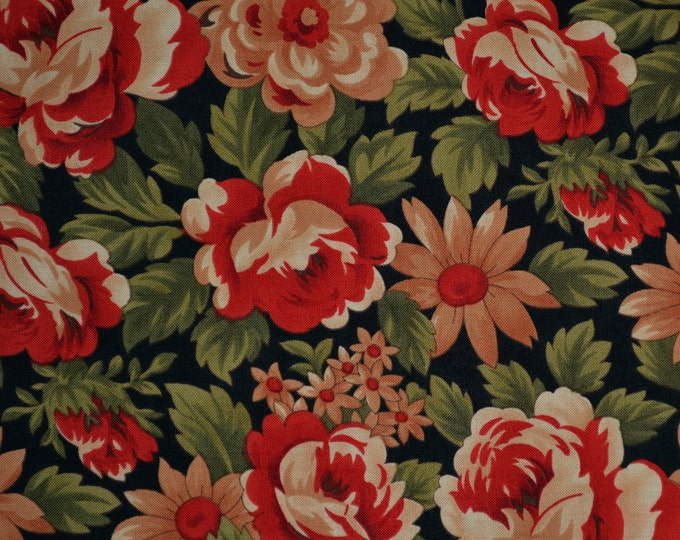 Fabric with flowers, Fall floral fabric, moda cotton fabric