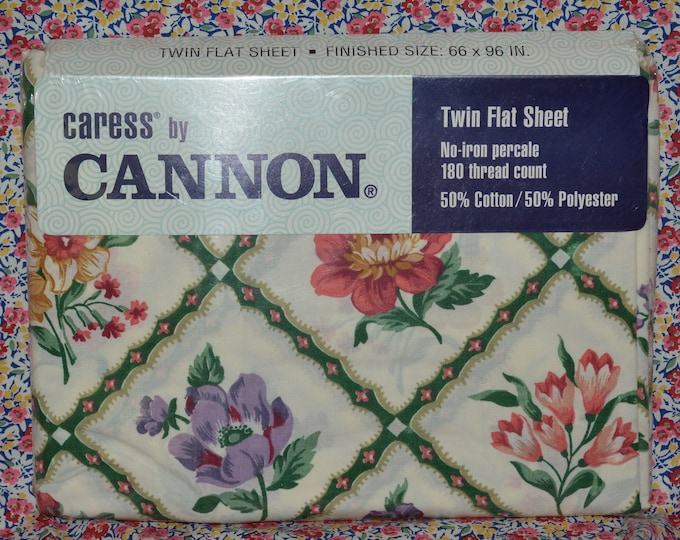 vintage floral sheets, Cannon sheets, vintage twin flat sheet