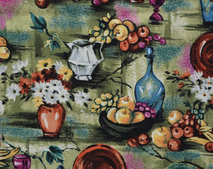 Tuscan kitchen fabric, still life kitchen art tablescape fabric