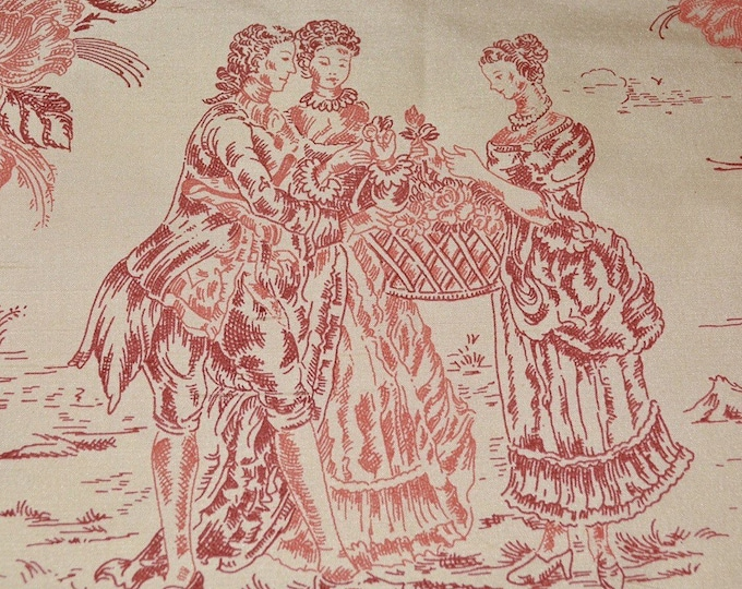 Pure silk fabrics French toile fabric French silk red toile