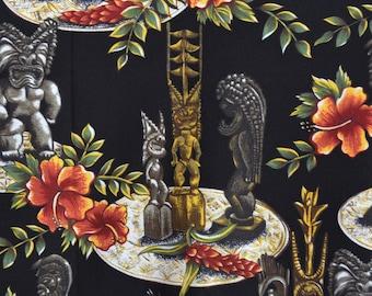 Tiki Hawaiian fabric, 3 yards, Hoffman International, Hawaiian shirt rayon fabric