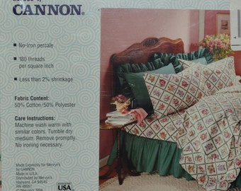 Twin flat sheet 1990s Cannon floral trellis, NIP