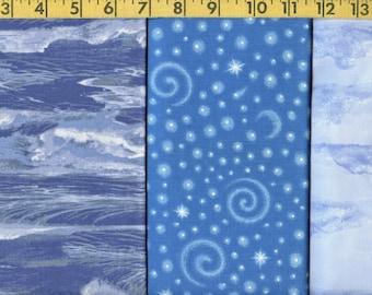 Blue fabric bundle, waves, clouds, stars Maywood EESCO, Hancock, VIP