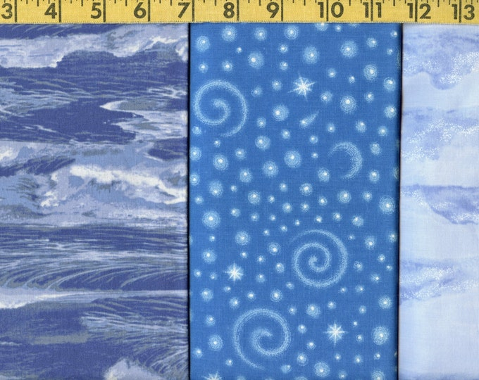 Blue patterned fabric bundle, 100 percent cotton