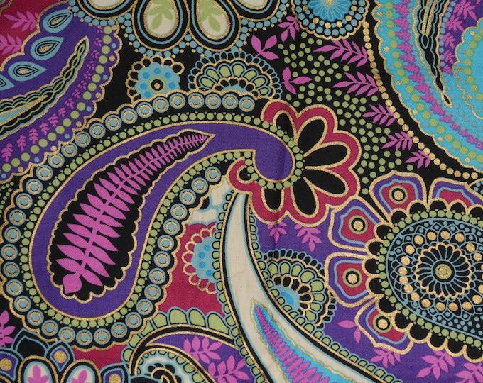 Bright quilt fabric Paisley fabric retro groovy fabric hippie fabric Hoffman
