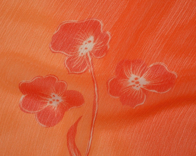 Crepe fabric, Tropical summer fabric, orange floral, poly crepe, Shamash and sons 3 yards plus