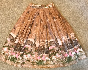50s vintage novelty skirt, border print fabric, Vienna cityscape