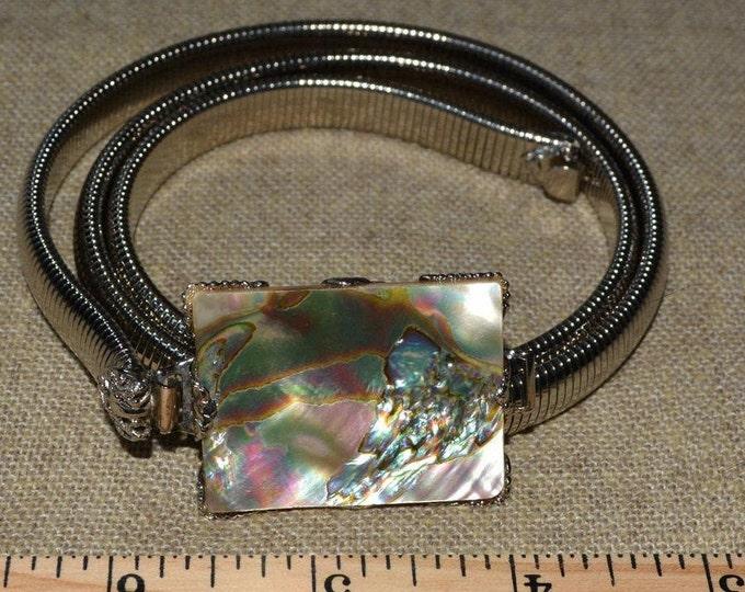 Abalone shell belt buckle vintage Schreiner 60s accessories