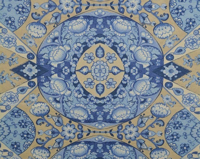Vintage blue Waverly fabric for Asian decor