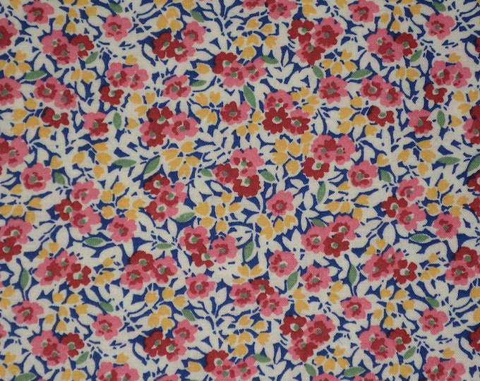 Country floral fabric, all over flora print, no repeat floral pattern, half yard by Darlene Zimmerman
