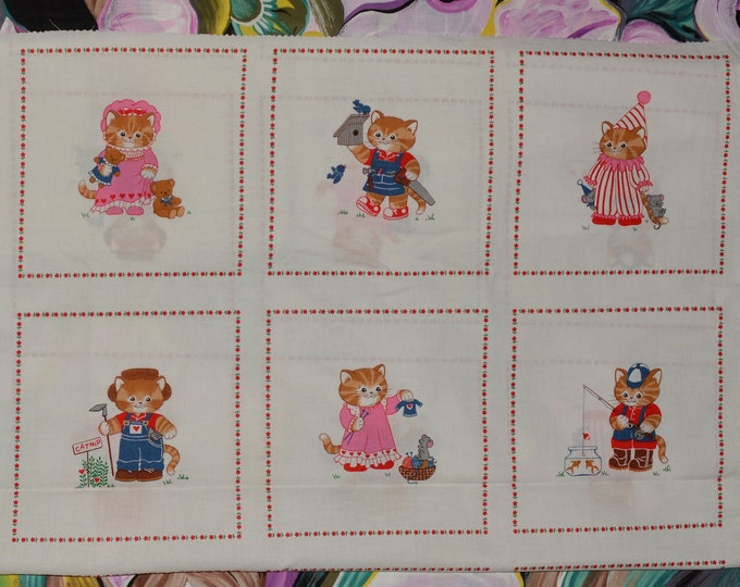 Anthropomorphic cats kittens fabric, Cranston VIP fabric panel