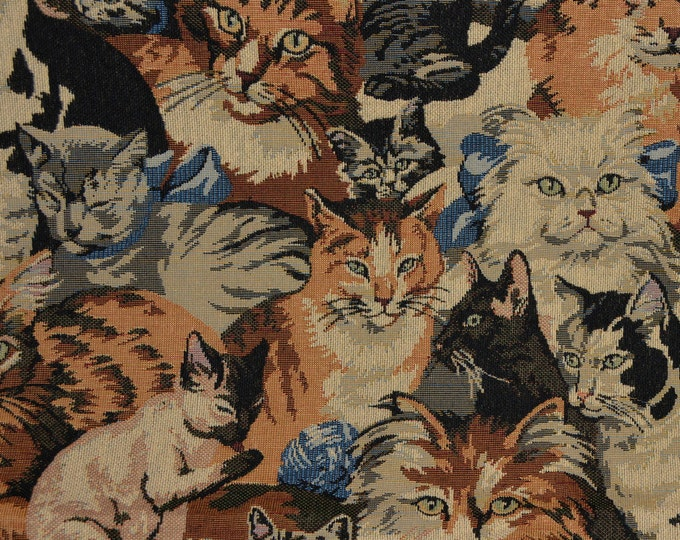 Fabric with Cats upholstery fabric, tapestry jacquard cat fabric