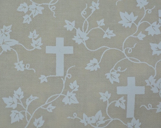 First Communion Christian cross fabric Christening religious fabric by the yard discount