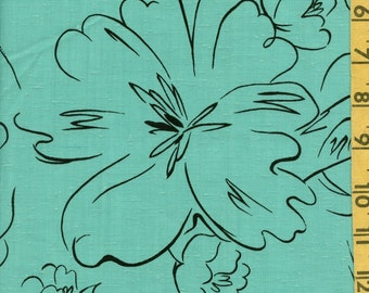 Outlined flower fabric vintage Picasso style floral