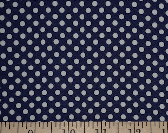 Navy blue white polka dot fabric vintage rayon fabric