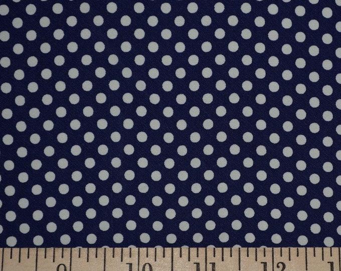 Navy blue white polka dot fabric vintage rayon fabric