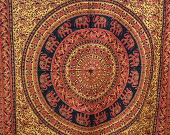 India bedspread fabric, elephant mandala india fabric