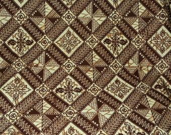 Vintage geometric batik print fabric by the yard, plangkan batik