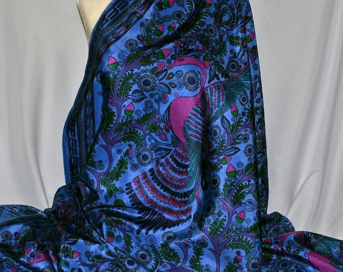 Indonesian Silk Peacock fabric, stunning silk fabric exotic birds