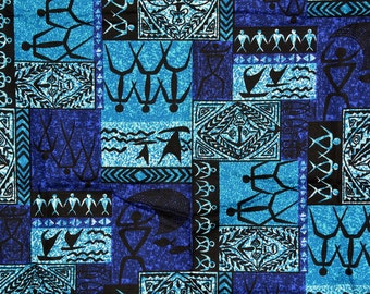 Tiki Tapa Hawaiian fabric vintage, Trans Pacific Textiles, turquoise blue