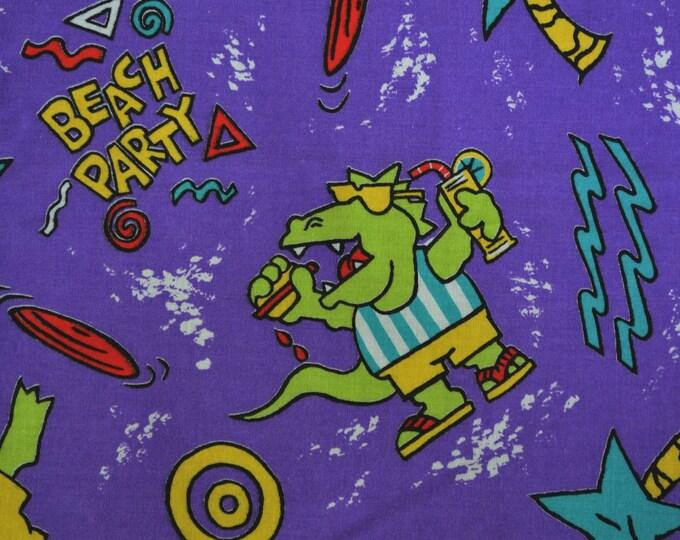 Beach volleyball fabric purple green gators fabric beach party 80s fabric 90s fabric