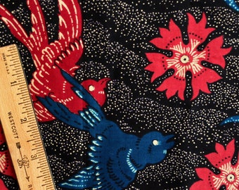 Vintage Indonesian batik fabric Birds and Butterflies