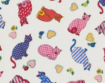 Cats and hearts fabrics, whimsical calico print cats cotton