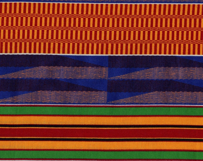 African theme fabric, tribal style printed stripe, 2 yards plus