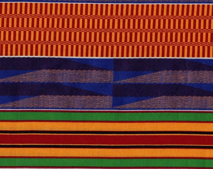 2 yards plus, bright color tribal stripe fabric print