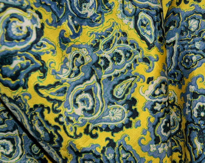 pure silk fabric, printed silk blue on yellow, Moroccan print, last piece
