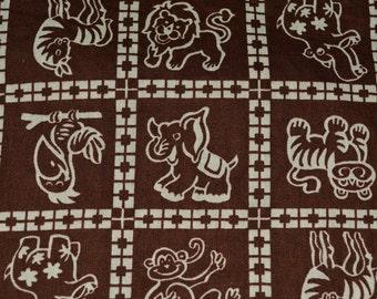 Zoo animals Baby fabric, baby safari animals fabric, chocolate brown