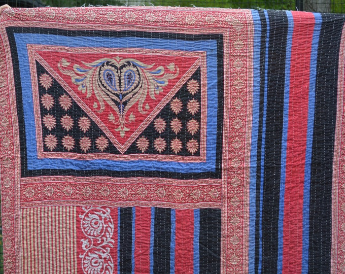 India fabric vintage Kantha quilt coverlet