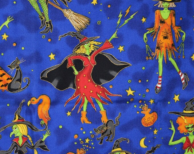 Whimsical witch fabric dancing witches Robert Kaufman funny Halloween fabric