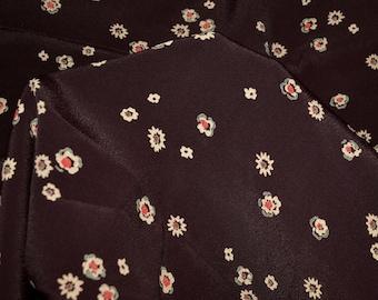 1950s vintage rayon fabric, garment fabric small floral print