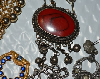 Scrap jewelry lot necklaces bracelets charms earrings