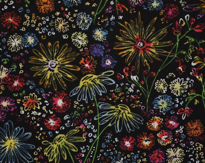 Flowers on black fabric, Bright floral fabric by the yard Robert Kaufman fabric