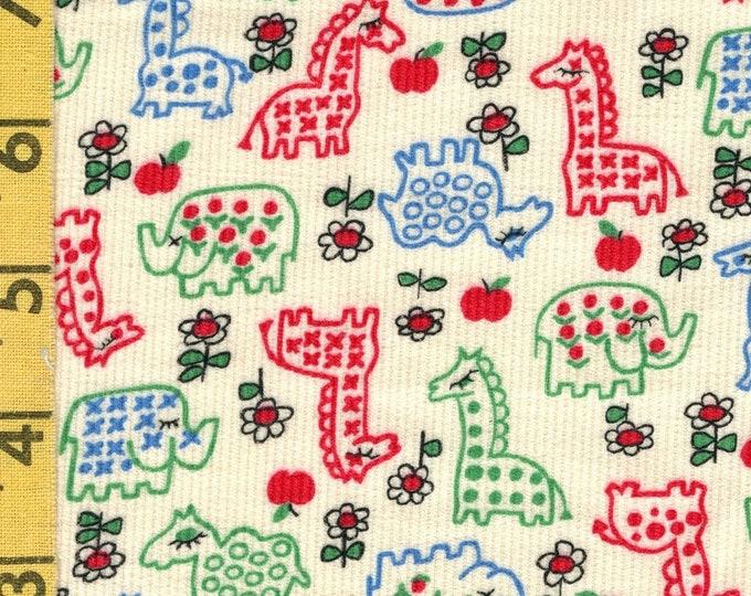 1960s cotton vintage corduroy fabric, baby corduroy print